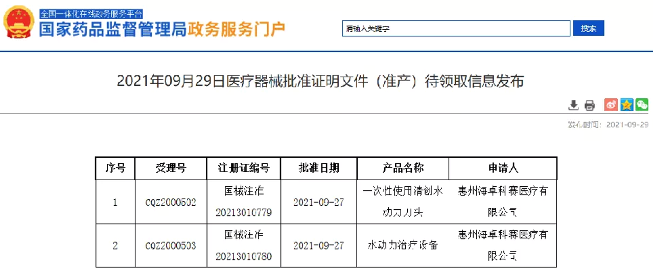 海卓刀®!首个国产清创水刀系统获NMPA批准上市!